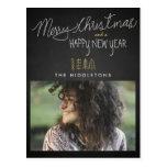 Rustic Chalkboard Typography Holiday Photo Postcard