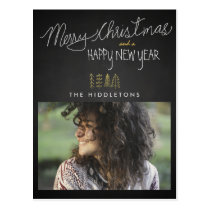 Rustic Chalkboard Typography Holiday Photo Postcard