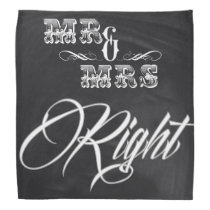 rustic chalkboard typography mr and mrs right bandana