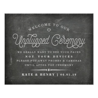 Rustic Chalkboard Unplugged Ceremony Poster 2