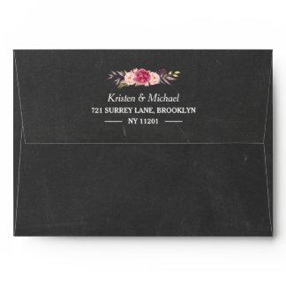 Rustic Chalkboard Vintage Floral 5x7 Wedding Envelope