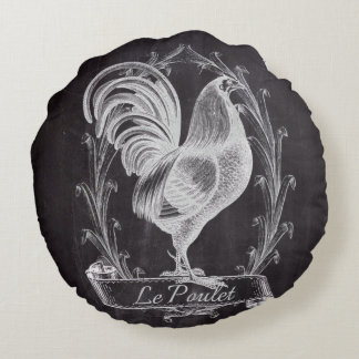 rustic chalkboard vintage french country rooster round pillow