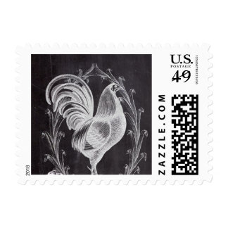 rustic chalkboard vintage french country rooster postage