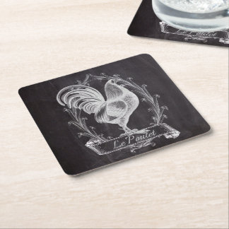 rustic chalkboard vintage french country rooster square paper coaster