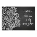 Rustic Chalkboard Vintage Paisley Bridesmaid Card