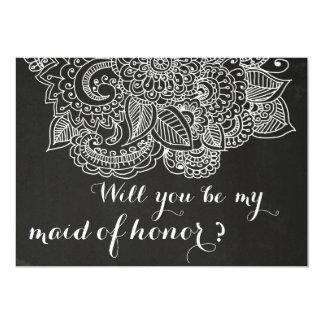 """Rustic Chalkboard Vintage Paisley Bridesmaid 5"""" X 7"""" Invitation Card"""