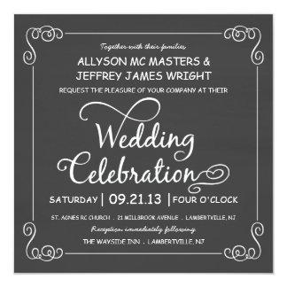 Rustic Chalkboard Wedding Celebration Invites