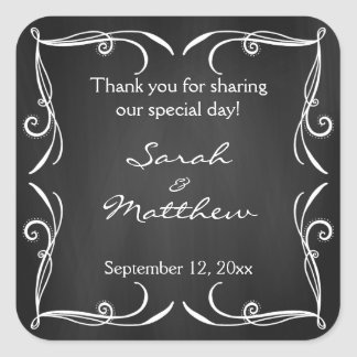 Rustic Chalkboard Wedding Favor Stickers
