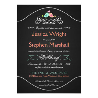Rustic Chalkboard Wedding LoveBirds Personalized Invites