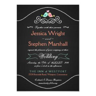 Rustic Chalkboard Wedding LoveBirds 4.5x6.25 Paper Invitation Card