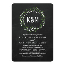 Rustic Gypsophila Chalkboard Wedding Invitations