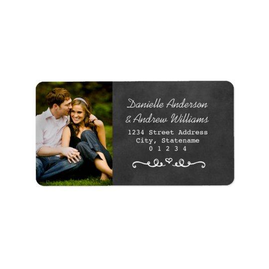 Rustic Chalkboard Wedding Photo Return Address Label