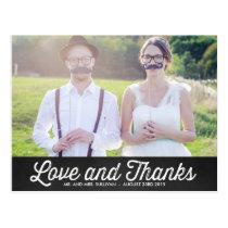 RUSTIC CHALKBOARD WEDDING PHOTO THANK YOU POSTCARD
