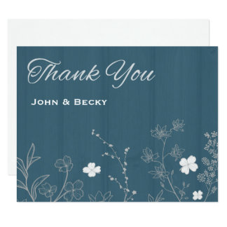 Rustic Chalky Blue & White Floral Thank You Card