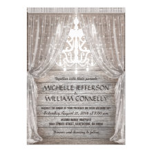 Rustic Chandelier Barn Drapery Wedding Invitation