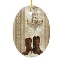 Rustic Chandelier cowboy Western country Ceramic Ornament