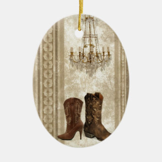 Rustic Chandelier Western country cowboy boots Ceramic Ornament
