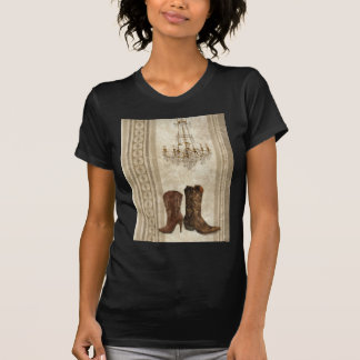 Rustic Chandelier Western country cowboy boots T-Shirt
