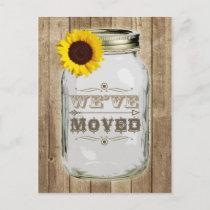 Rustic Change Of Address Mason Jar Sunflower Announcement Postcard