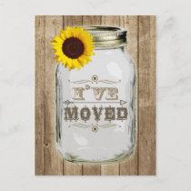 Rustic Change Of Address Mason Jar Sunflower I've Announcement Postcard