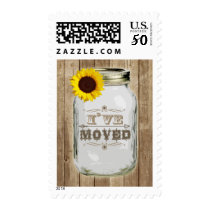 Rustic Change Of Address Mason Jar Sunflower I've Postage