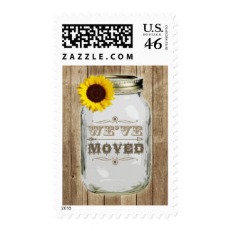 Rustic Change Of Address Mason Jar Sunflower Postage Stamps