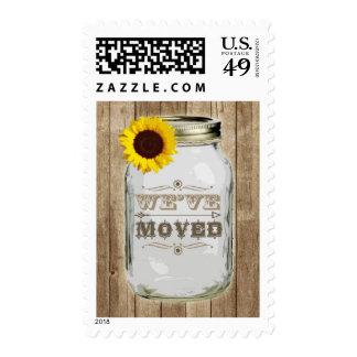 Rustic Change Of Address Mason Jar Sunflower Postage Stamps