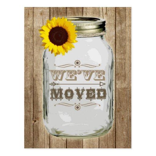 Rustic Change Of Address Mason Jar Sunflower Postcard