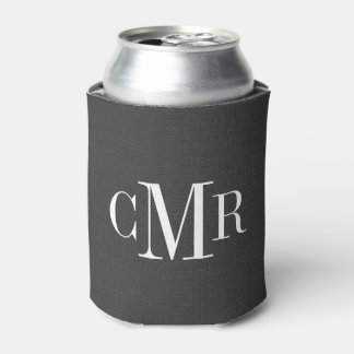 Rustic Charcoal Classic Monogram Can Cooler