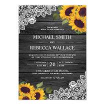 Rustic Charcoal Grey Wood Lace Sunflower Wedding Invitation