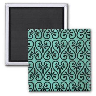 Rustic Charm Aqua Black Swirls Floral Grunge Fridge Magnet