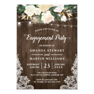 Rustic Charm Floral String Lights Engagement Party Invitation