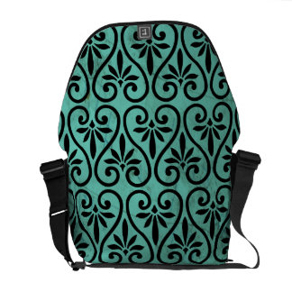 Rustic Charm Grunge Aqua Black Floral Swirls Messenger Bag