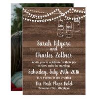 Rustic Charm Mason Jar String Lights Photo Wedding Invitation
