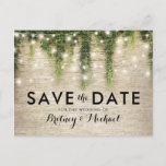 """Rustic Chateau Stone Church Lights Save the Date Announcement Postcard<br><div class=""""desc"""">Magical fairytale save the date postcards featuring a rustic stone brick wall background, green ivy vine with sparkling twinkle lights, and a modern wedding template. For further personalization, please click the &quot;Customize it&quot; button to modify this template. All text style, colors, and sizes can be modified to suit your needs....</div>"""