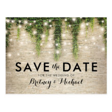Rustic Chateau Stone Church Lights Save the Date Postcards
