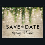 "Rustic Chateau Stone Church Lights Save the Date Postcard<br><div class=""desc"">Magical fairytale save the date postcards featuring a rustic stone brick wall background, green ivy vine with sparkling twinkle lights, and a modern wedding template. For further personalization, please click the &quot;Customize it&quot; button to modify this template. All text style, colors, and sizes can be modified to suit your needs....</div>"