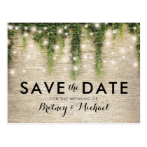 Rustic Chateau Stone Church Lights Save the Date Postcard