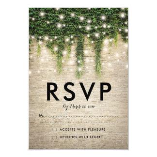 Rustic Chateau Stone Church Lights Wedding RSVP Card