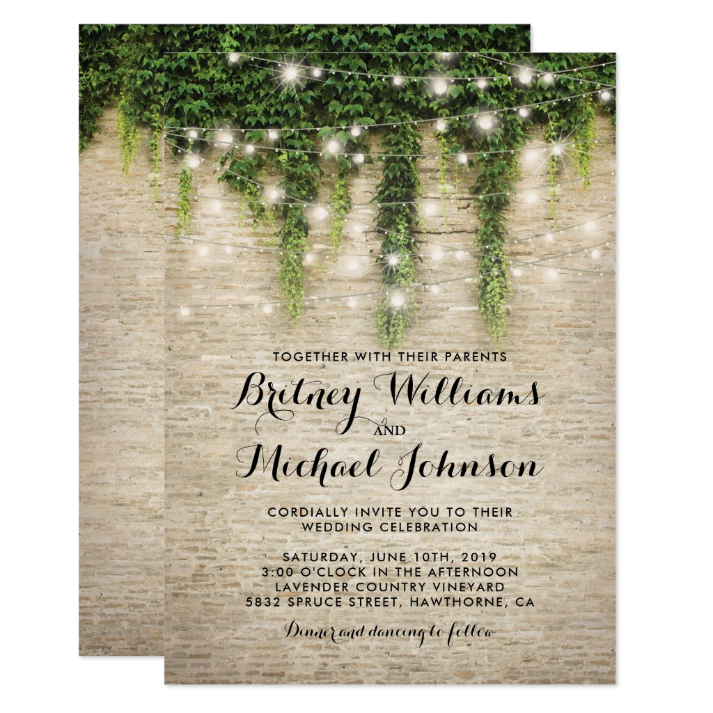 Rustic Chateau Stone Church String Lights Wedding Card