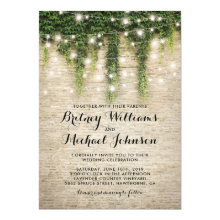 Rustic Chateau Stone Church String Lights Wedding Invitations