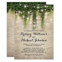 Rustic Chateau Stone Church String Lights Wedding Invitation