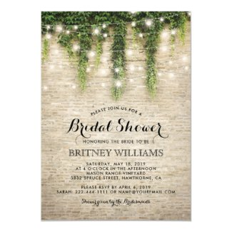 Rustic Chateau Stone Church Wedding Bridal Shower Invitation