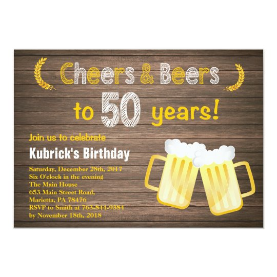 Rustic Cheers And Beers 50th Birthday Invitation