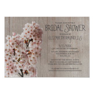 Rustic Cherry Blossom Bridal Shower Invitations