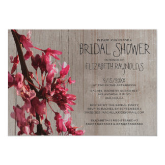 Rustic Cherry Blossoms Bridal Shower Invitations