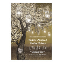 Rustic Cherry Tree String Light Engagement Party Invitations