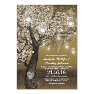 Rustic Cherry Tree & String Lights Wedding Card