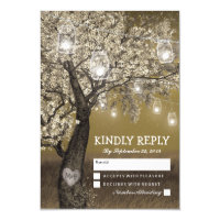 Rustic Cherry Tree & String Lights Wedding RSVP Card