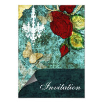 Rustic Chic Aqua Vintage Rose Wedding Card
